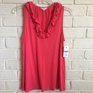 Crown & Ivy coral ruffle sleeveless top NWT